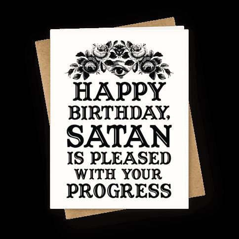 happy birthday nerd card ; greetingcard45-off_white-z1-t-happy-birthday-satan-is-pleased-with-your-progress