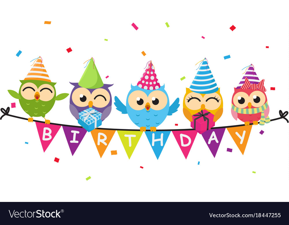 happy birthday owl ; happy-birthday-card-with-owl-and-bunting-flag-vector-18447255