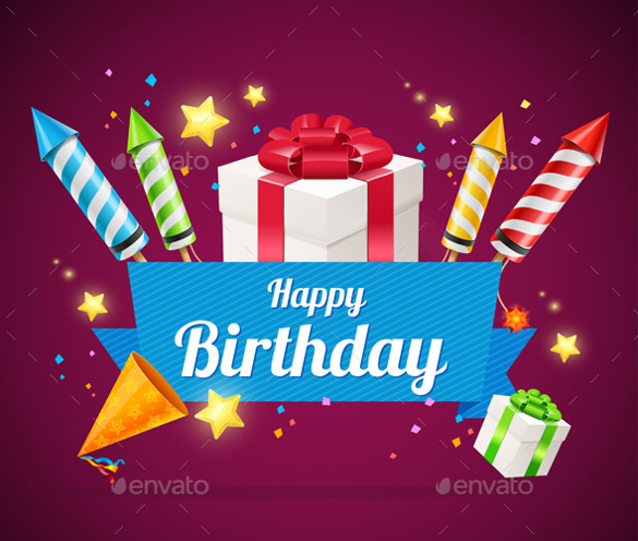 happy birthday photoshop template ; Birthday-Card-illustration