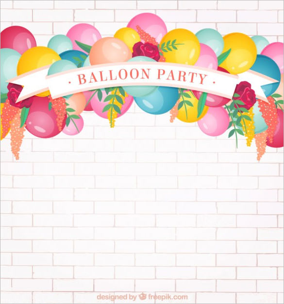 happy birthday psd background ; Balloon-Birthday-Party-Background-Free-Download
