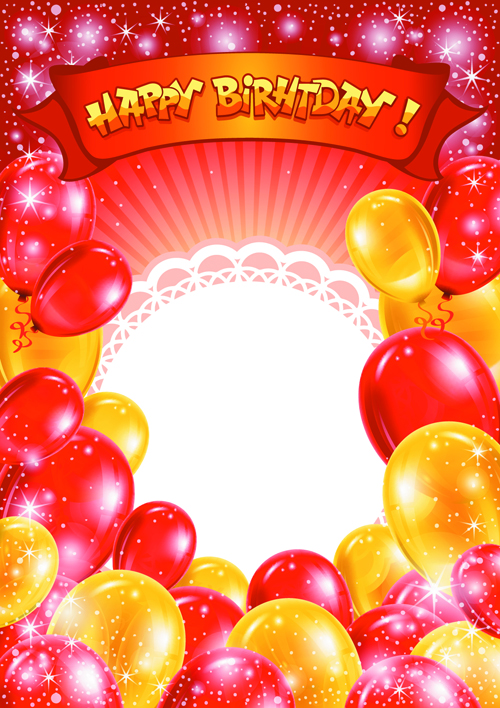 happy birthday psd background ; Balloons-4