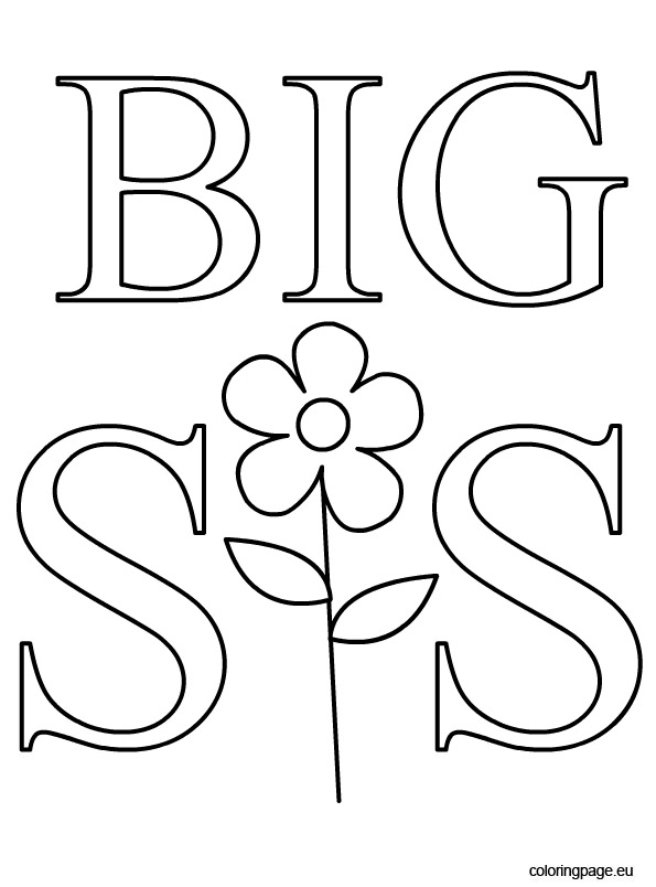 happy birthday sister coloring pages ; big-sis