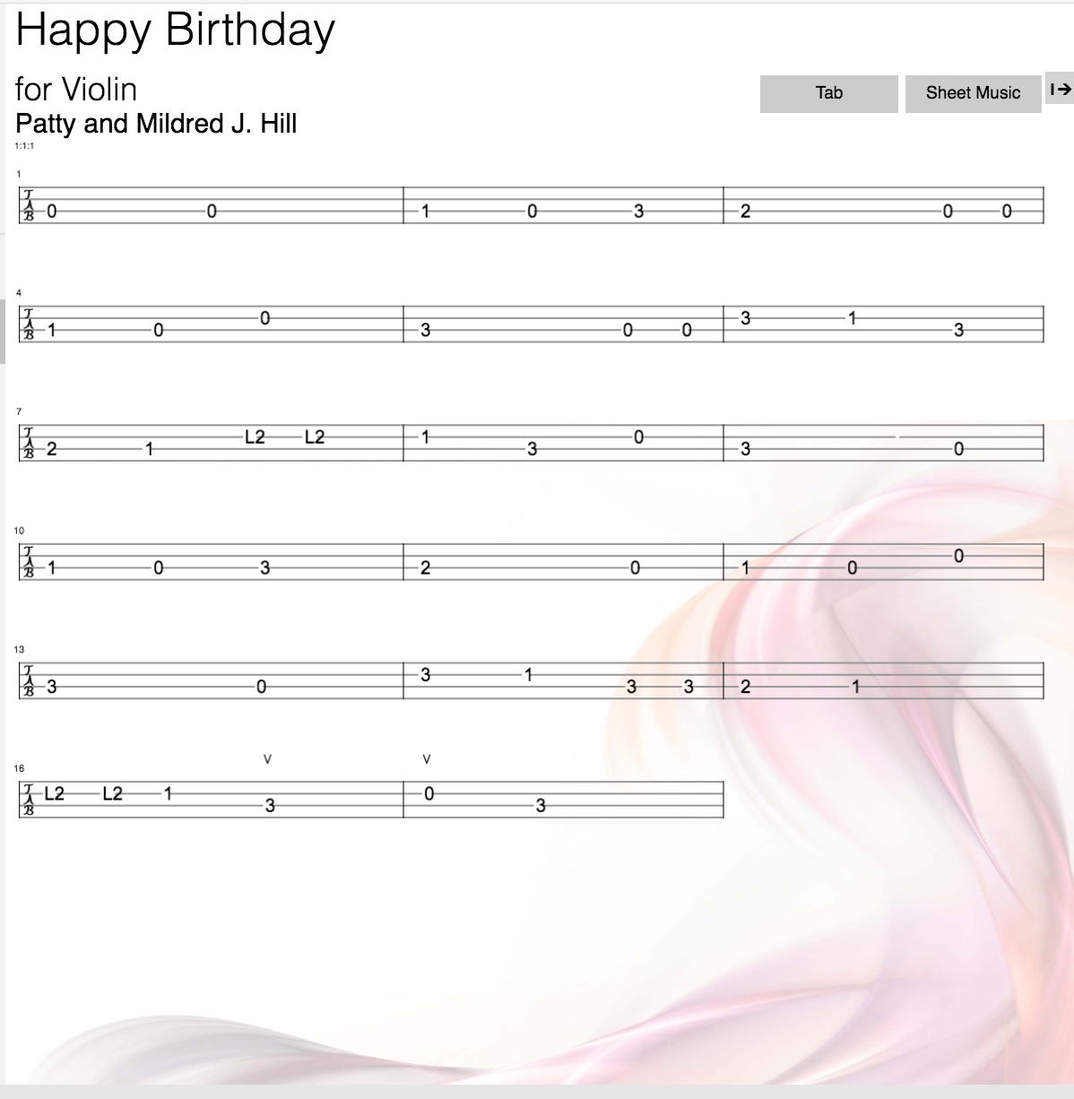 happy birthday violin notes with letters ; Happy-Birthday-Tab