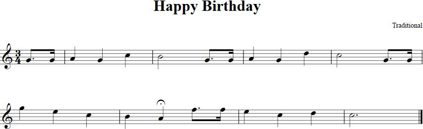 happy birthday violin notes with letters ; happy-birthday