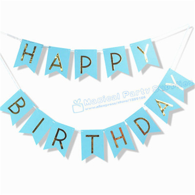 happy birthday wall banner ; 10-Sets-Blue-and-Gold-Prince-Happy-Birthday-Banner-Our-Little-Prince-Boy-Birthday-Wall-Banner