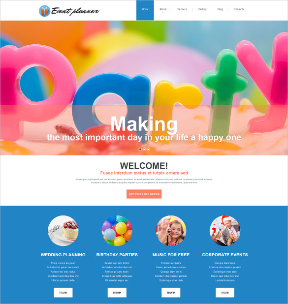 happy birthday website design ; Event-Planner-Responsive-Joomla-Website-Template