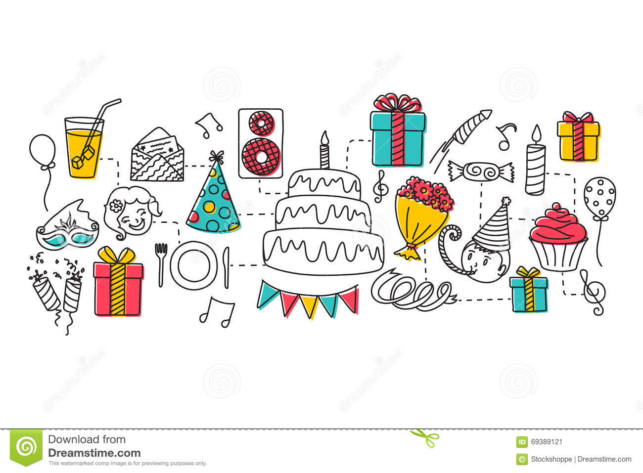 happy birthday website design ; happy-birthday-concept-web-design-template-vector-illustration-flat-line-art-69389121