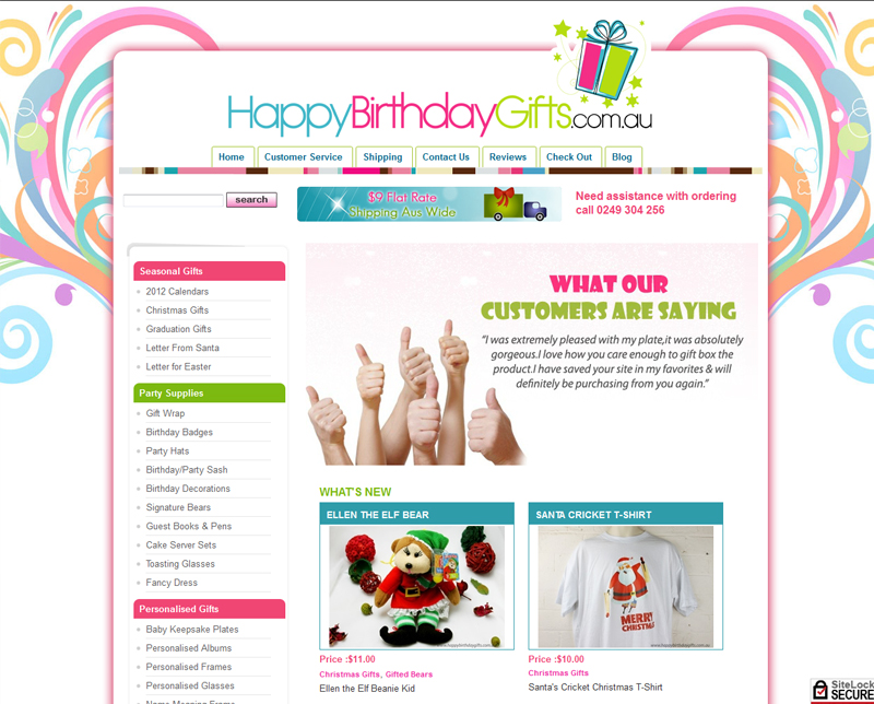 happy birthday website design ; happybirthdaygifts