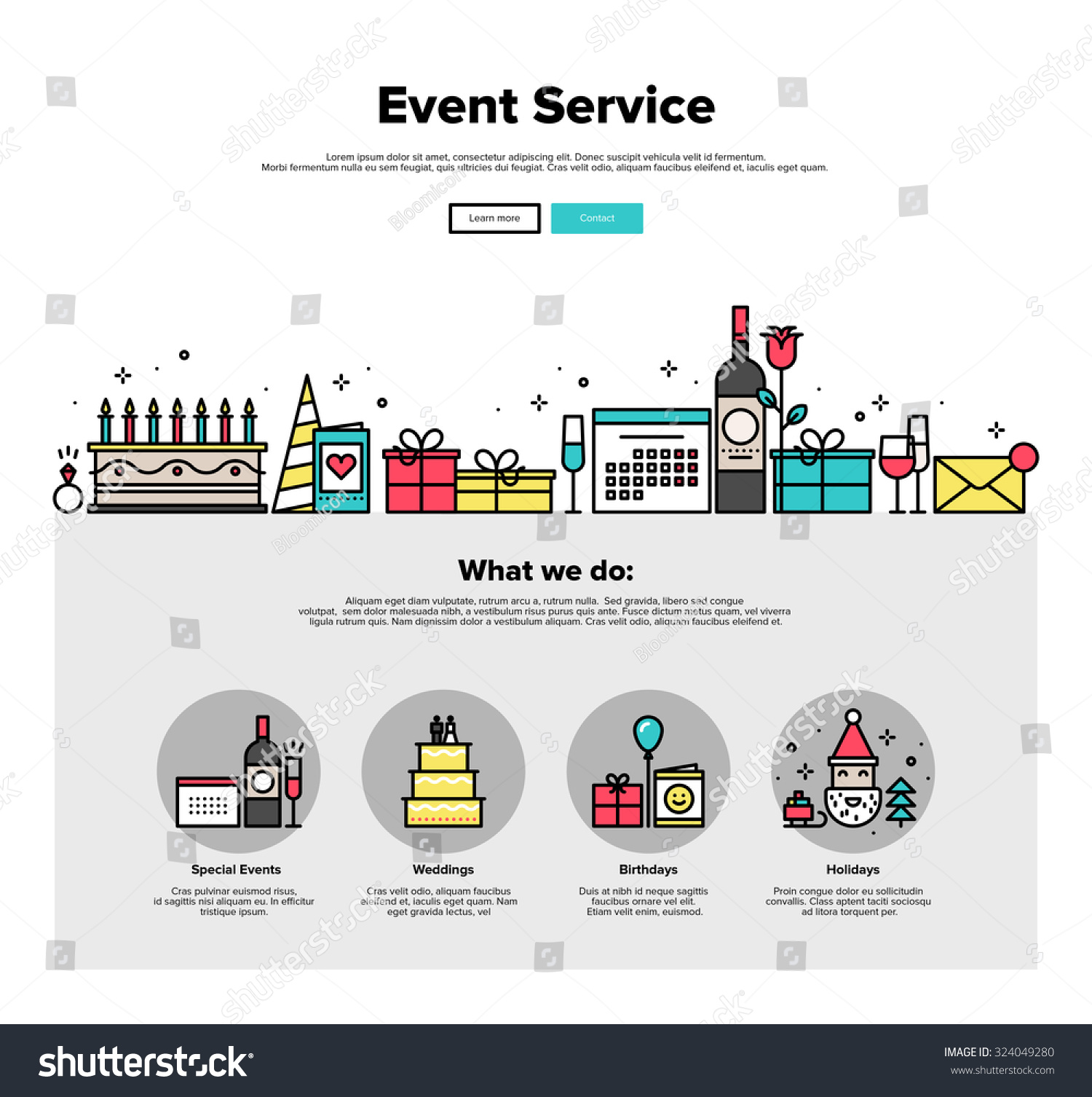 happy birthday website design ; stock-vector-one-page-web-design-template-with-thin-line-icons-of-special-event-and-happy-birthday-party-324049280