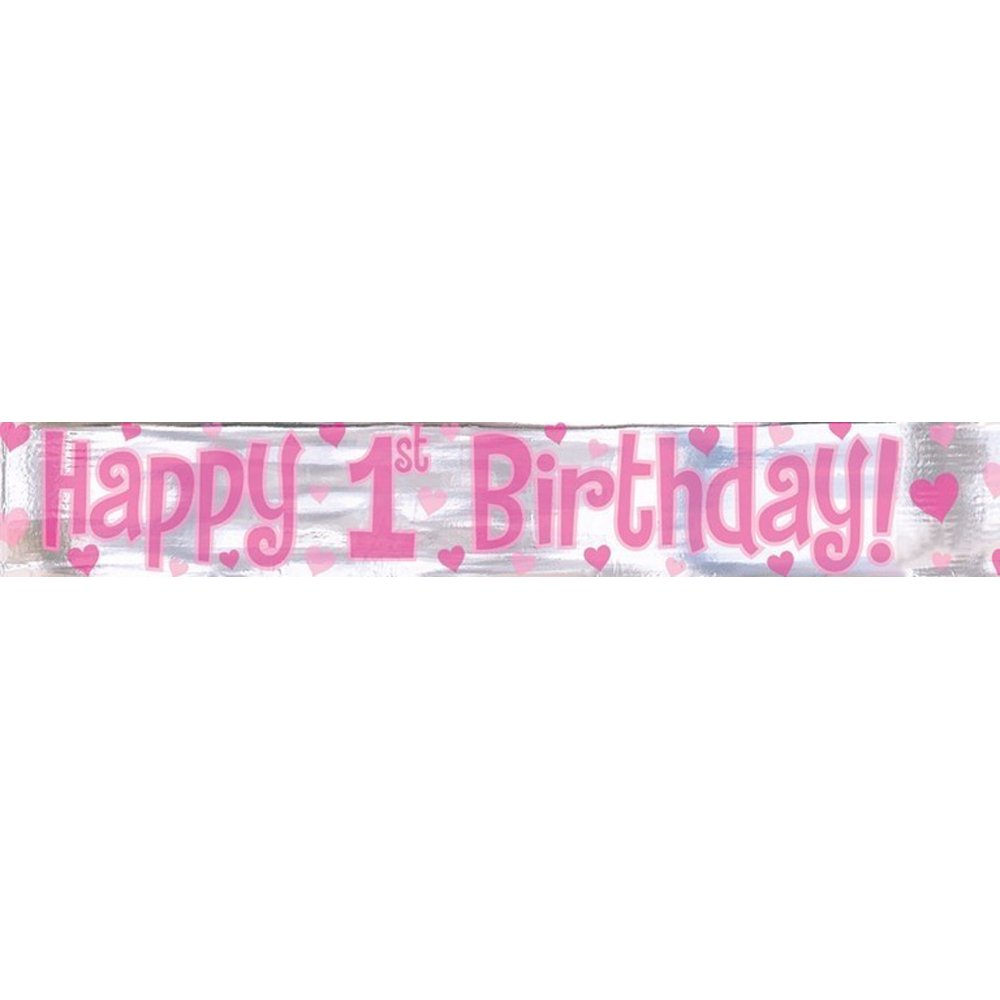 happy first birthday banner ; 1st-bday-foil-banner-girl
