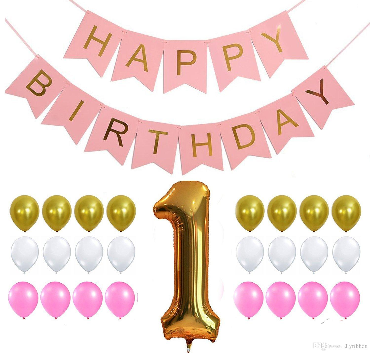 happy first birthday banner ; first-birthday-decoration-set-light-and-gold