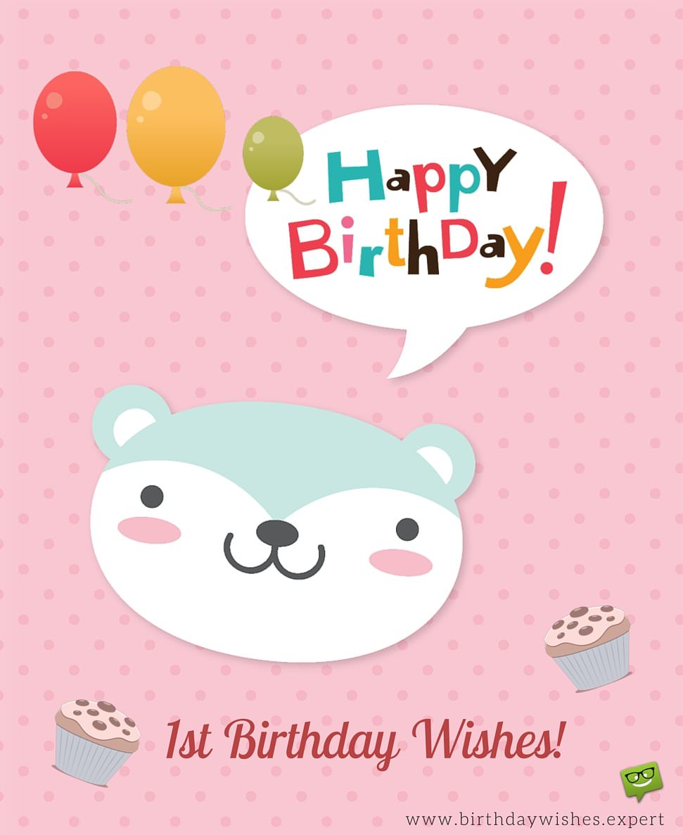 happy first birthday images ; First-birthday-wishes-with-cute-animal-and-cupcakes