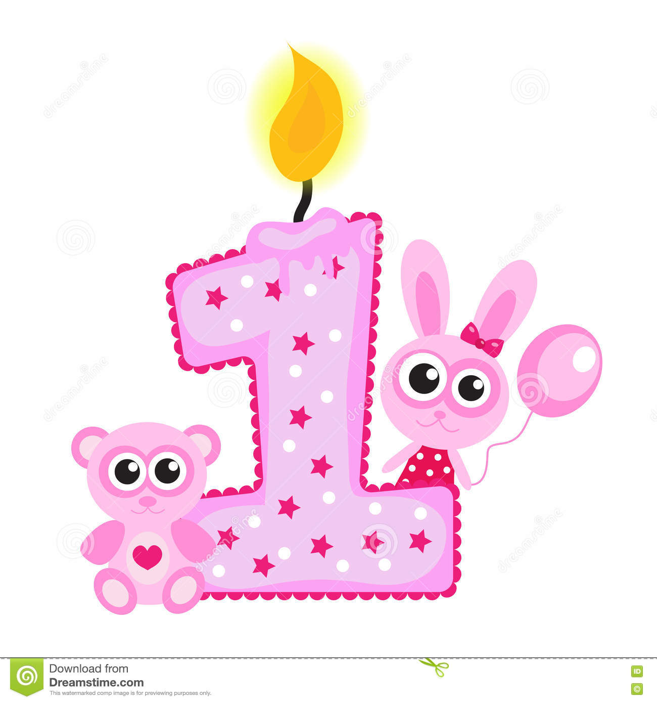 happy first birthday images ; happy-first-birthday-candle-animals-white-pink-card-72974687