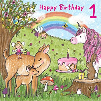 happy one year old birthday card ; A174EDGg0CL