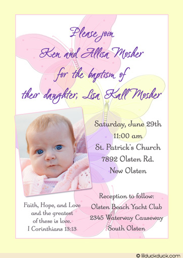 invitation card maker for christening and birthday ; Pastel-butterfly-invitation-Yellow-photo-baby