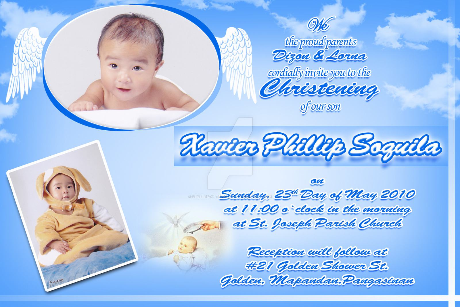 invitation card maker for christening and birthday ; christening-invitation-for-baby-girl-layout
