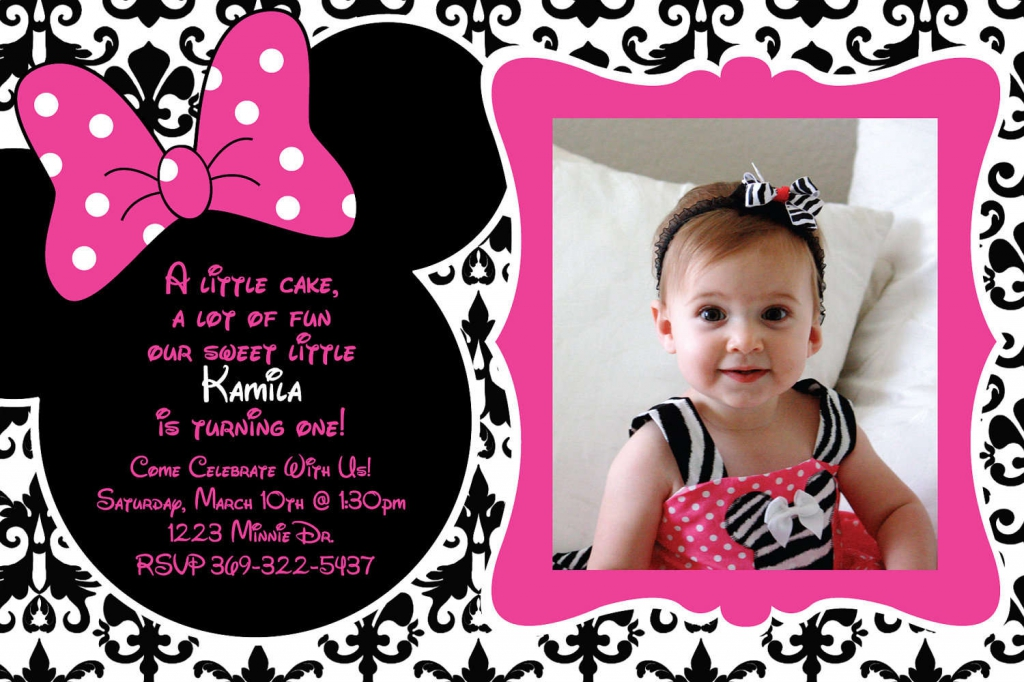 invitation card maker for christening and birthday ; first_birthday_minnie_mouse_invitations