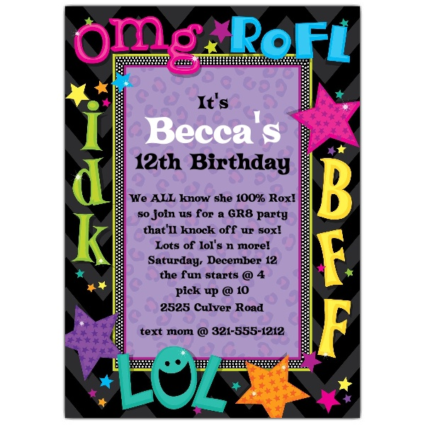 invitation cards for birthday party for teenagers ; 643-57-1181-z