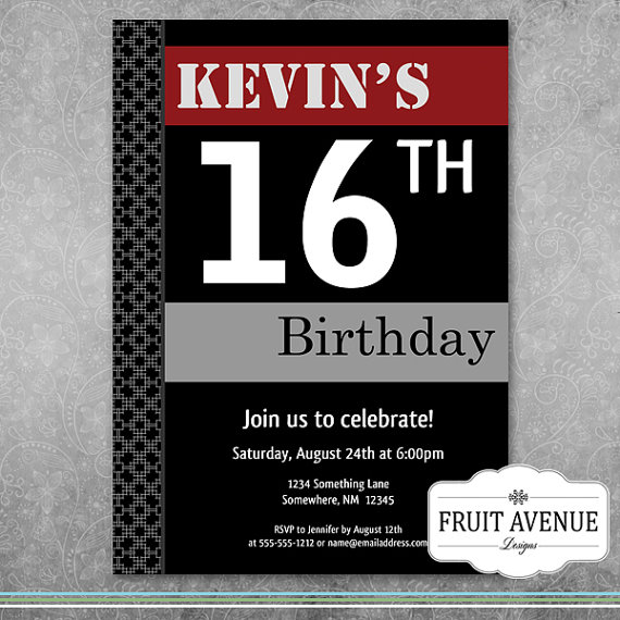invitation cards for birthday party for teenagers ; il_570xN
