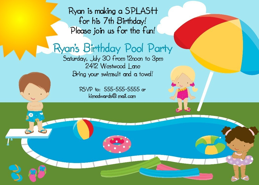 invitation for birthday pool party ; Extraordinary-Birthday-Pool-Party-Invitations-As-An-Extra-Ideas-About-Party-Invitations