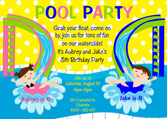 invitation for birthday pool party ; twins-blue-pink-poolside-cdb