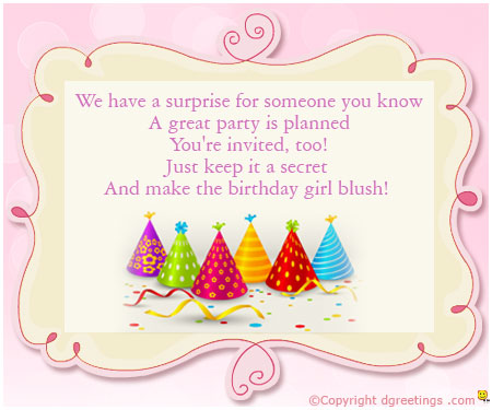 invitation matter for birthday party ; warm-invitation
