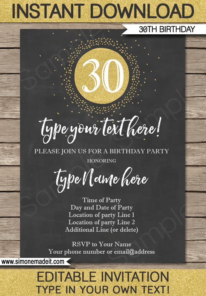 invitation templates for 30th birthday party ; 30th-Birthday-Invitation-editable-and-printable-chalkboard-gold-glitter-2