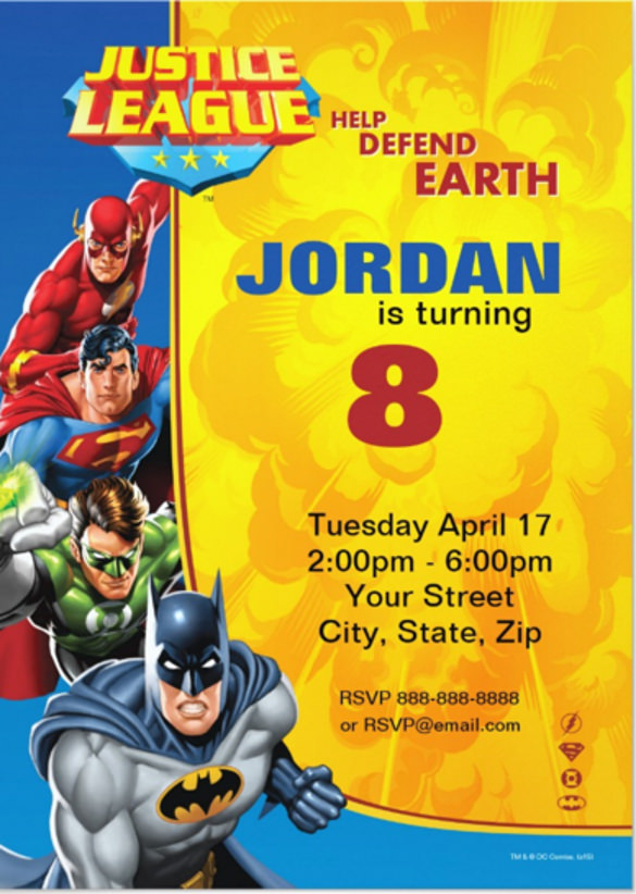 justice league birthday card ; Justice-League-Birthday-Celebration-Party-Invitation