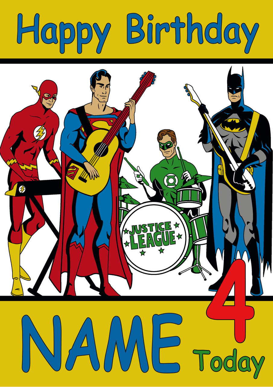 justice league birthday card ; Justice_League_Band__46335