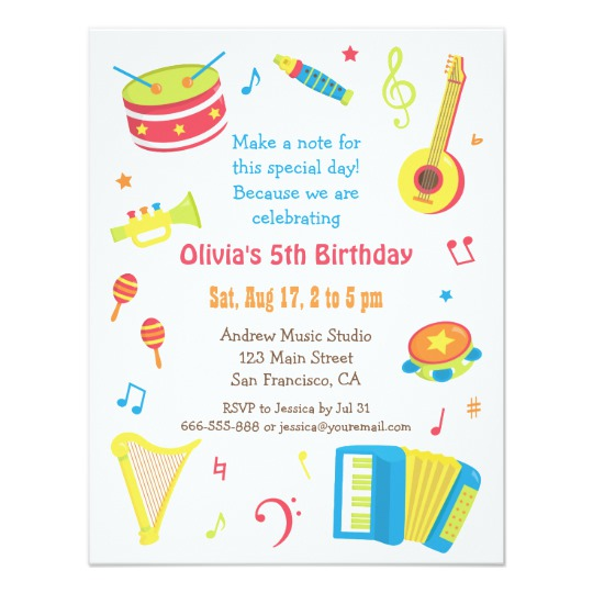 kids birthday invitation text ; colourful_music_instruments_kids_birthday_party_card-r0161773901474f4bb426dd22e6a351d2_zk91q_540