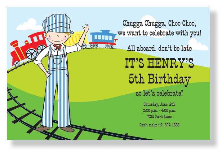 kids birthday invitation text ; little-conductor-birthday