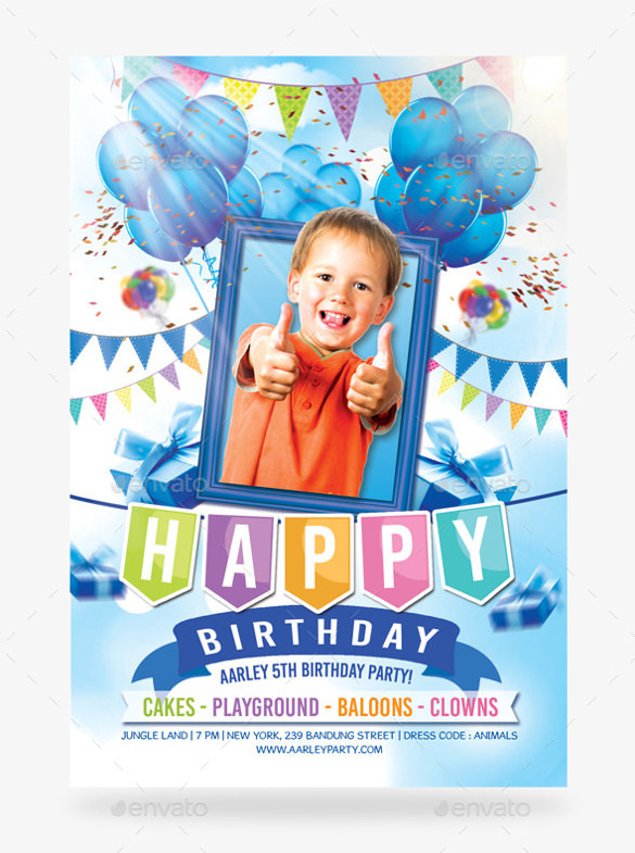 kids birthday poster ; Boy-Birthday-Party-Celebration-Invitation-