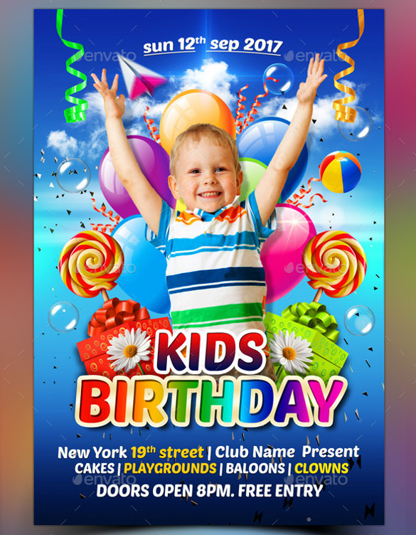 kids birthday poster ; Colorful-Kids-Birthday-Flyer-Template