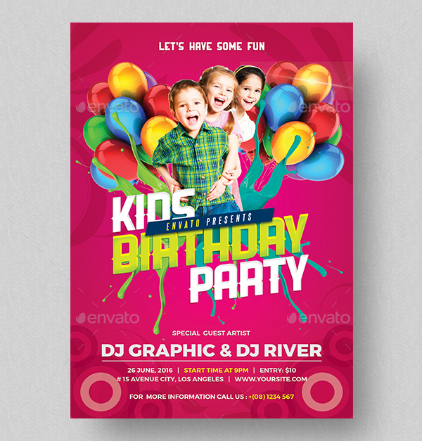 kids birthday poster ; Kids-Birthday-Party-Invitation