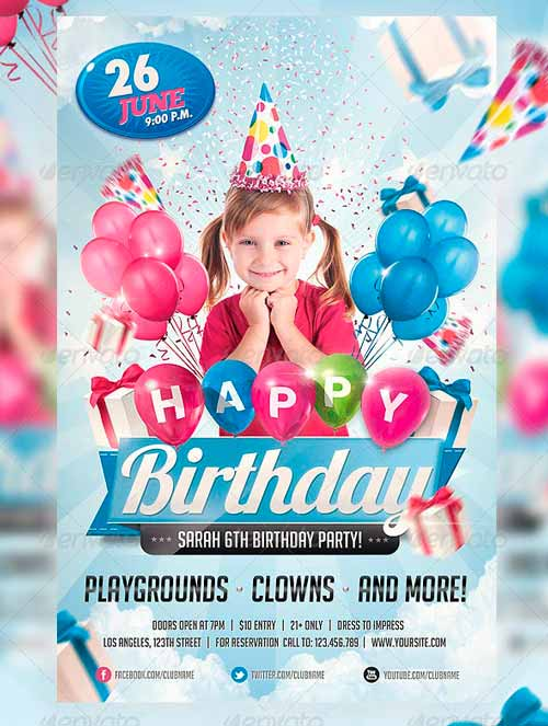 kids birthday poster ; kids-birthday-invitation-party-flyer-poster-flyer-pinterest-kids-birthday-flyer