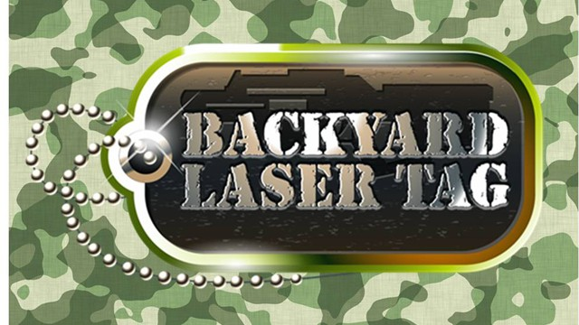 laser tag birthday party at home ; logowithcamo