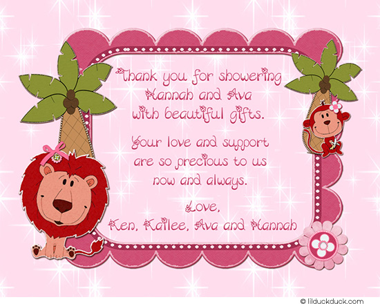 little girl birthday card verses ; jungle-twin-baby-girl-shower-thank-you-card-front-safari-pink