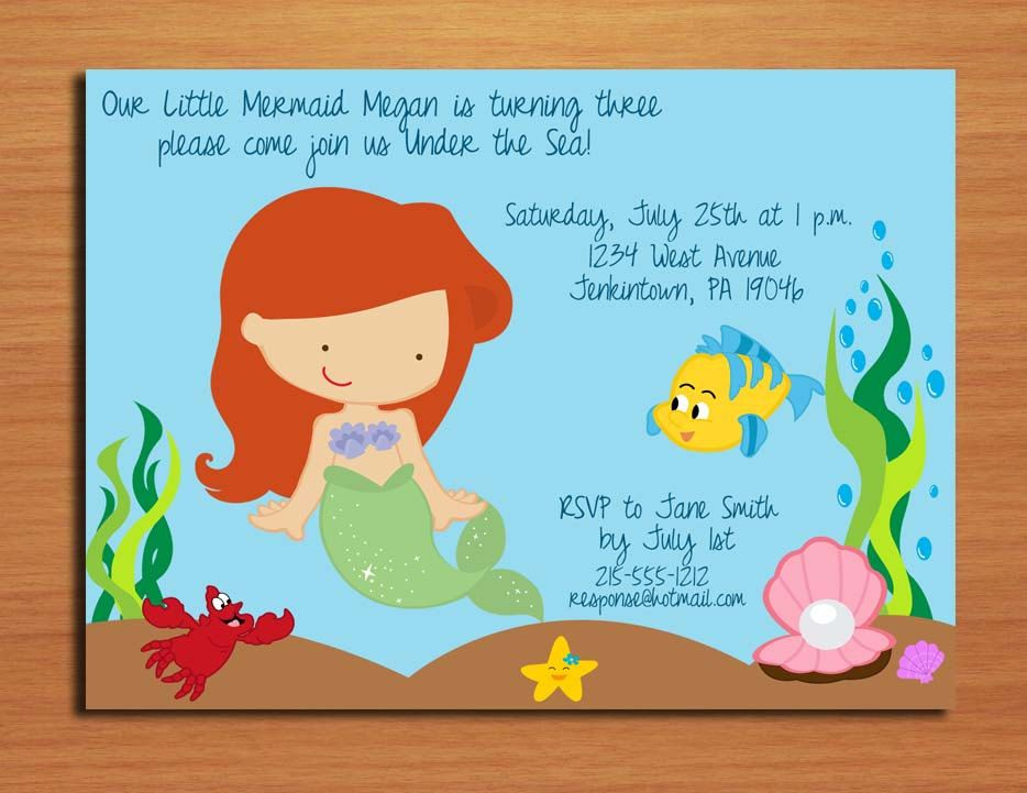 little mermaid birthday card ; little-mermaid-birthday-cards-ariel-little-mermaid-princess-birthday-party-invitation-cards-free