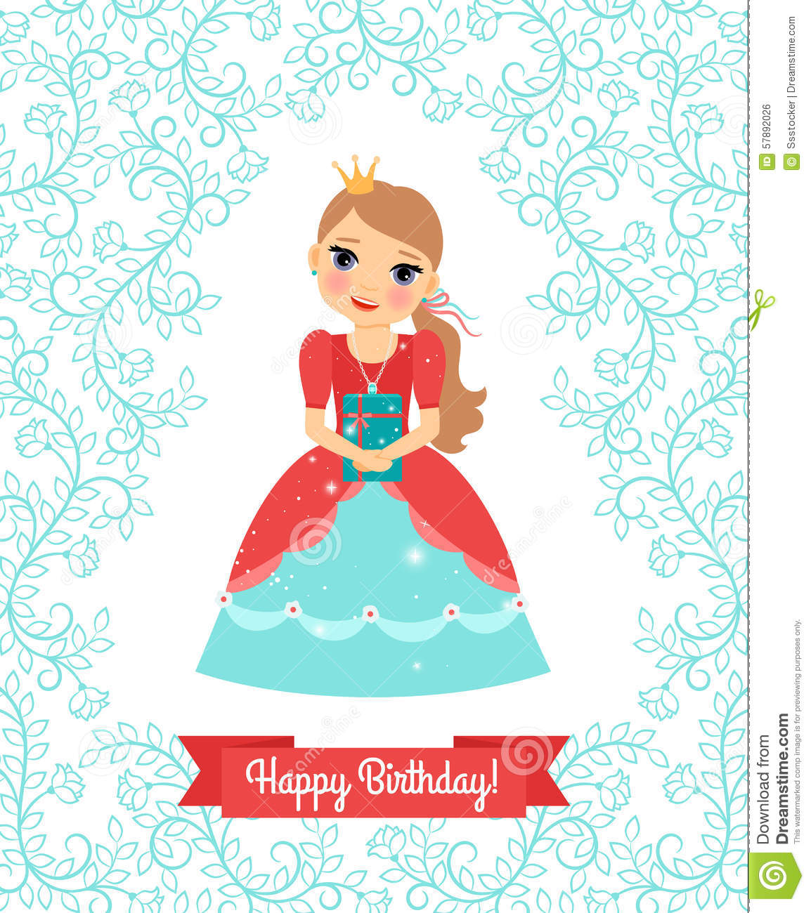 little princess birthday card ; little-princess-happy-birthday-card-vector-greeting-cute-floral-frame-ribbon-your-text-57892026