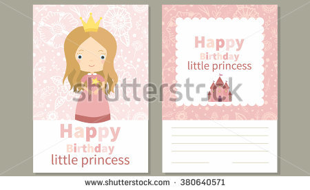 little princess birthday card ; stock-vector-happy-birthday-little-princess-birthday-card-with-cute-little-girl-and-pink-floral-seamless-380640571