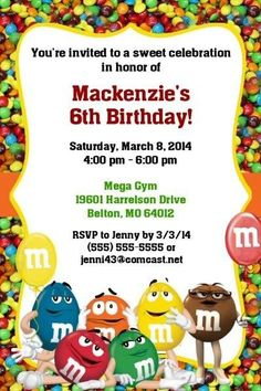 m&m birthday card ; 26517e04c3961458c810ec4d792e0dd5--th-birthday-birthday-party-ideas