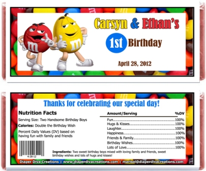 m&m birthday card ; MMCandyWrapperswithRed