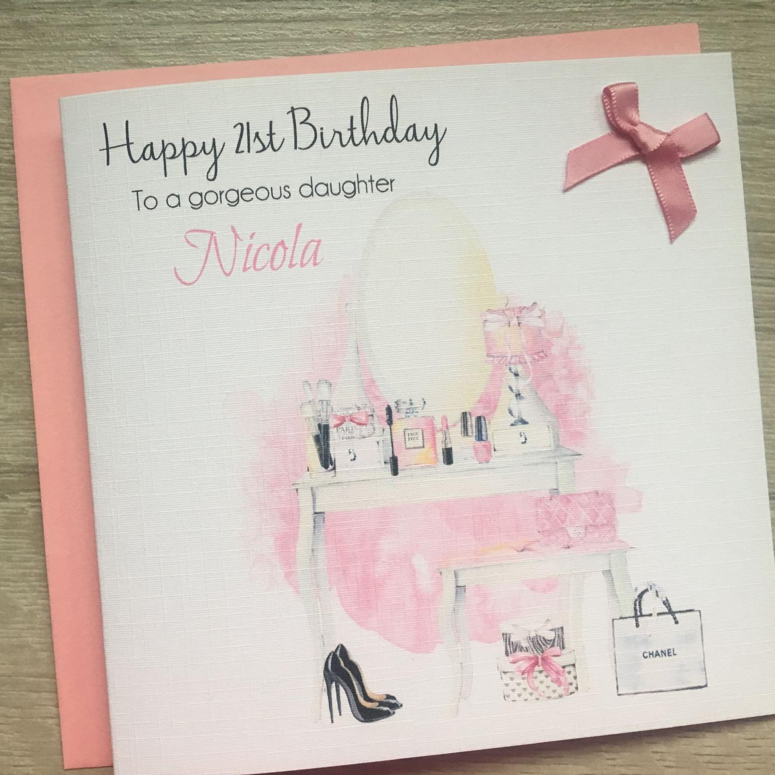 makeup birthday card ; personalised-handmade-birthday-card-dresser-shoes-makeup-ref-gct692-envelope-colour-pink-8294-p