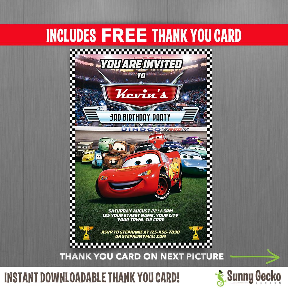 mcqueen birthday invitation ; Cars-Invitations-with-Free-Thank-You-Card-1000x1000