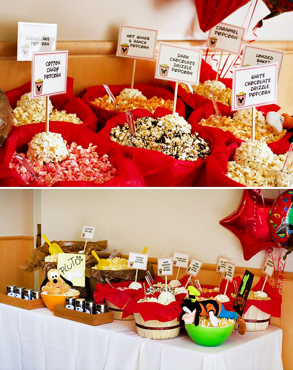 mickey mouse first birthday picture ideas ; popcorn-bar
