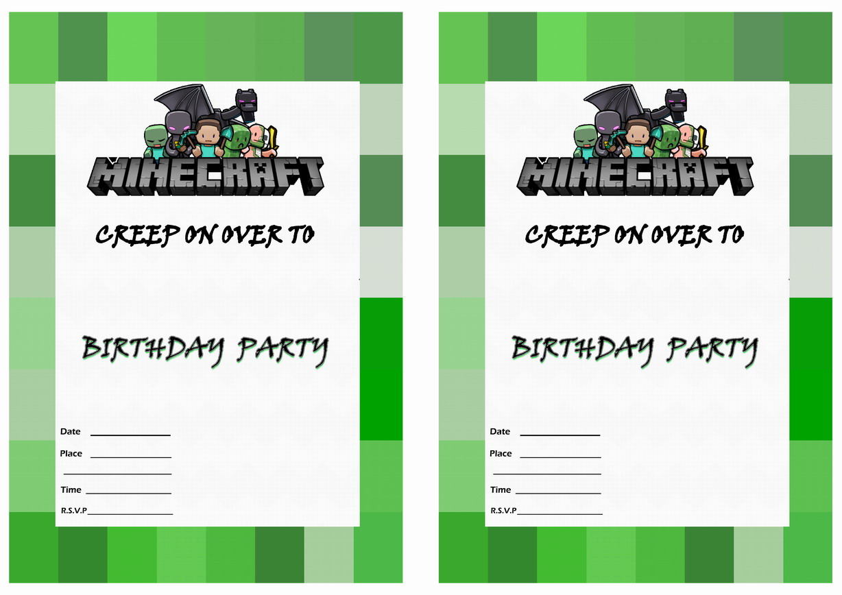 minecraft birthday card maker ; free-printable-minecraft-birthday-invitations-for-the-invitations-design-of-your-inspiration-Birthday-Invitation-Templates-party-3