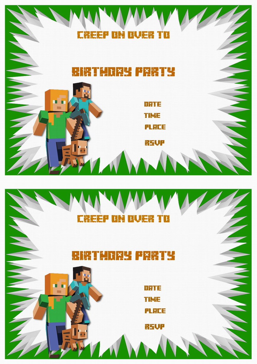 minecraft birthday card maker ; minecraft-birthday-invitations-with-a-chic-invitations-specially-designed-for-your-Birthday-Invitation-Templates-20