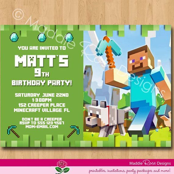 minecraft birthday card maker ; minecraft-birthday-party-invitations-for-best-results-and-fascinating-Birthday-Invitation-Template-27