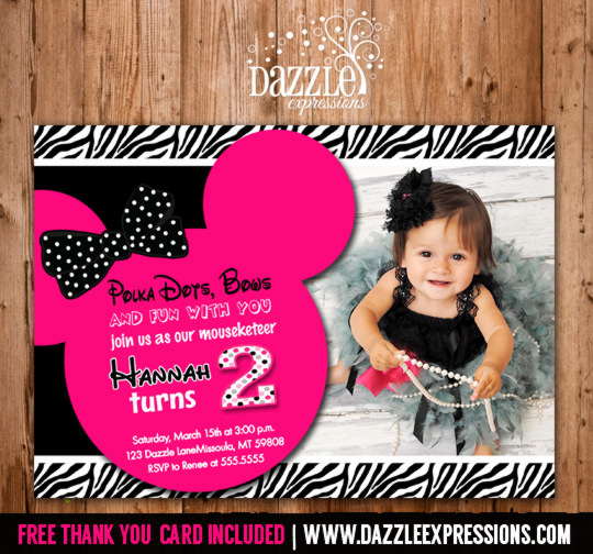 minnie mouse 2nd birthday card ; MinnieMouseInvitation2copy