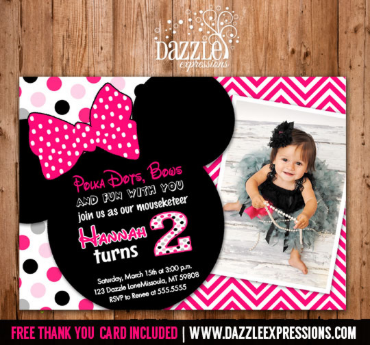 minnie mouse 2nd birthday card ; best-minnie-mouse-2nd-birthday-invitations-with-charming-design